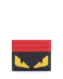 Monster-Print Leather Card Case