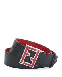 Reversible Zucca-Print Enamel-Buckle Belt