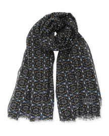 Mini-Monster Print Scarf, Gray/Blue