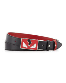 Monster Eyes Leather Belt, Red