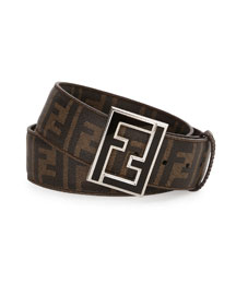 Zucca-Print Leather Enamel-Buckle Belt