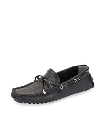 Zucca Tie Printed Leather Moccasin, Brown/Black