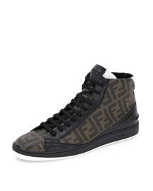 Wimbledon Leather High-Top Sneaker, Tobacco