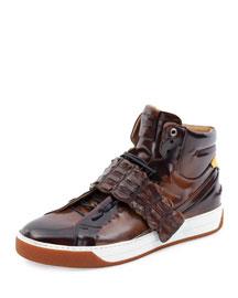 Croc-Strap Wimbeldon High-Top Sneaker, Brown