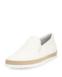Leather Espadrille Slip-On Sneaker, White
