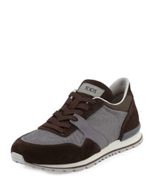 Lace-Up Trainer Sneaker, Brown/Gray