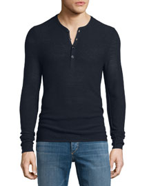 Gregory Long-Sleeve Henley Shirt, Salute