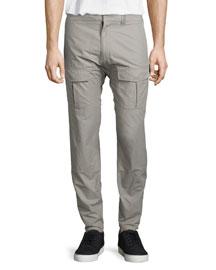 Cotton-Blend Double Cargo Pants, Warm Gray