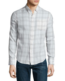 Yokohama Plaid Long-Sleeve Sport Shirt, White/Gray