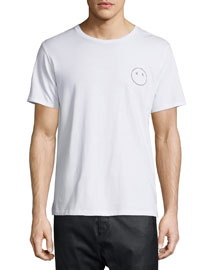 Face-Embroidered Short-Sleeve Jersey T-Shirt, Bright White