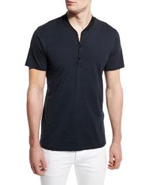Knox Short-Sleeve Henley Shirt, Salute
