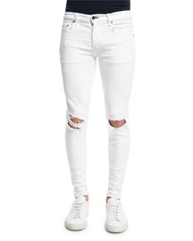 Low-Rise Distressed Skinny Jeans, White