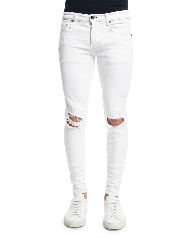 Rag & Bone Low-Rise Distressed Skinny Jeans, White, Men's, Size: 34
