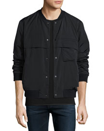 Nylon Button-Down Bomber Jacket, Black