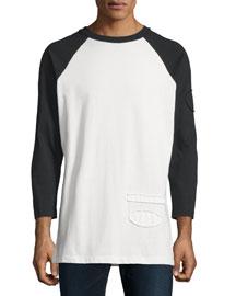 Long-Sleeve Baseball T-Shirt with Raw-Edge Trim, Matrix