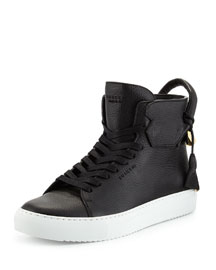 125mm High-Top Leather Sneaker with Padlock, Black/White