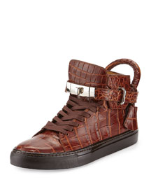 Men's Crocodile-Embossed High-Top Sneaker, Chocolate