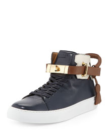 100mm High-Top Sneaker with Gold Hardware, Multicolors