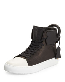 Leather High-Top Sneaker, Black/Off White