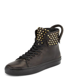 125mm High-Top Leather Sneaker with Screws, Black