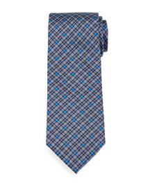 Plaid & Square-Print Silk Tie, Royal
