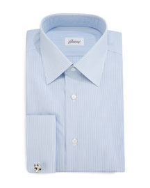 Rope-Stripe French-Cuff Dress Shirt, Blue