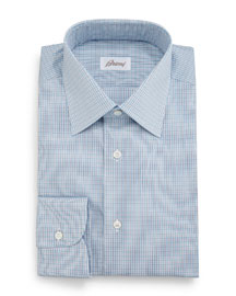 Micro-Check Grenadine Dress Shirt, Aqua