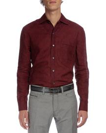 Dot-Print Long-Sleeve Linen Shirt, Burgundy