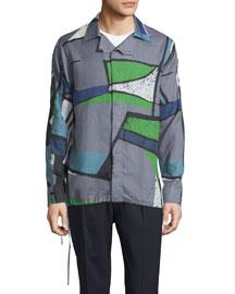 Colorblock Abstract-Print Woven Shirt, Dark Gray