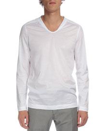 Long-Sleeve V-Neck T-Shirt, White