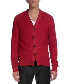 V-Neck Knit Silk/Cotton Cardigan, Red