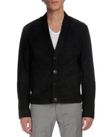 Suede Button-Down Cardigan Jacket, Navy