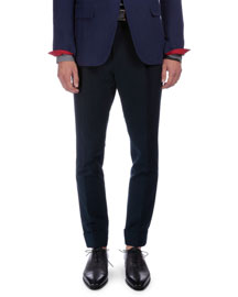 Linen-Blend Flat-Front Pants, Navy