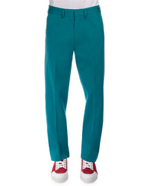Wide-Leg Flat-Front Pants, Turquoise