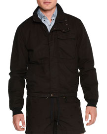 Long-Sleeve Cotton Bomber Jacket, Black