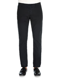 Riviera Straight-Leg Cotton Pants, Black