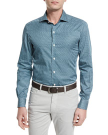 Geo-Print Long-Sleeve Sport Shirt, Teal