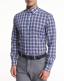 Large Plaid Long-Sleeve Sport Shirt, Navy
