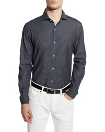 Jacquard Long-Sleeve Denim Sport Shirt, Dark Indigo