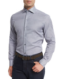 Jacquard-Print Long-Sleeve Sport Shirt, Navy