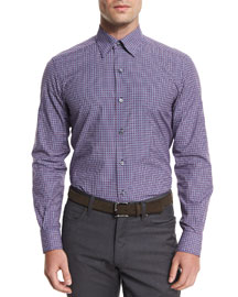 Gingham Jacquard Long-Sleeve Sport Shirt, Navy