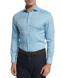 Linen Long-Sleeve Sport Shirt, Teal
