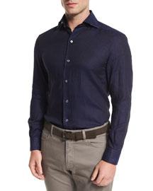 Long-Sleeve Linen Sport Shirt, Navy