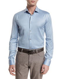 Cotton/Silk Long-Sleeve Sport Shirt, Light Blue