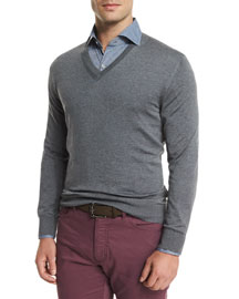 High-Performance Wool Sweater, Light Gray