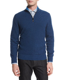 Waffle-Knit Quarter-Zip Pullover Sweater, Navy