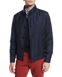 Wool Button-Down Blouson Jacket, Navy