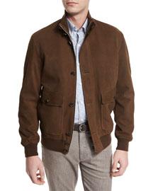 Full-Grain Suede Button-Down Jacket, Cognac