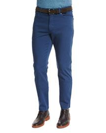Five-Pocket Stretch-Cotton Pants, Medium Blue
