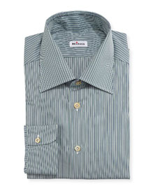 Micro-Stripe Woven Dress Shirt, Green